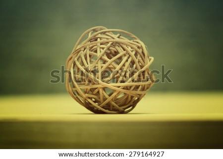 Woven wicker ball wood, eco decoration. Contemporary art - stock photo