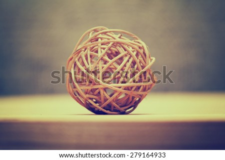 Woven wicker or bamboo balls used for decorating. Apply filter style instagram - stock photo