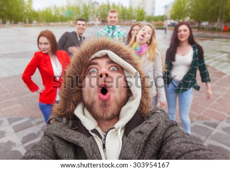 wow face selfie - stock photo