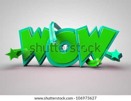 WOW text Green with stars - stock photo