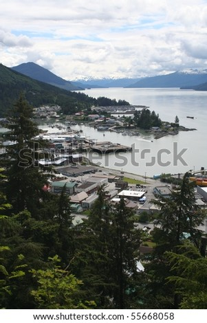 Wrangell Alaska from Mt. Dewey Overlook - stock photo