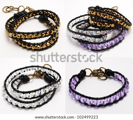 wrap bracelet with crystal - stock photo
