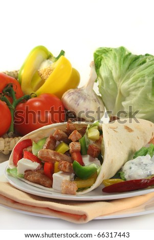 Wrap filled with colorful salad and turkey strips - stock photo