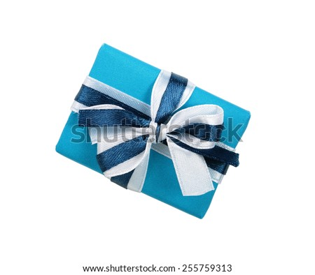 Wrapped blue gift box with ribbon bow - stock photo