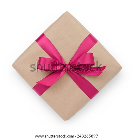wrapped brown present box with purple ribbon bow, isolated on white - stock photo