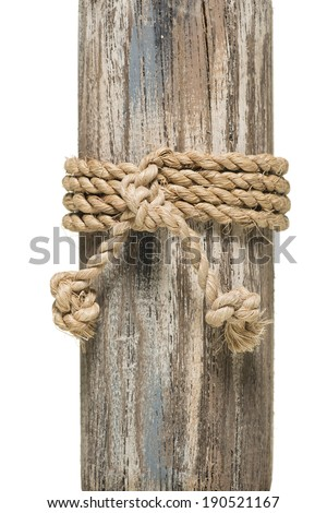 wrapped rope on wood over white background - stock photo