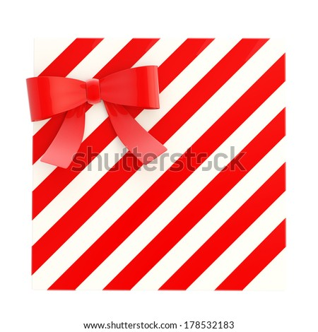 Wrapped white gift box with a red bow and ribbon isolated over white background, 3d render illustration - stock photo