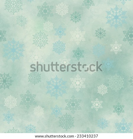 Wrapping Christmas vintage paper background with snowflake seamless pattern, subtle grunge texture - stock photo