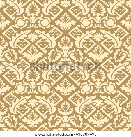 Wrapping floral damask seamless wallpaper website tablecloth leaves repeating foliage western drapery triangle decor, flower organic luxury tiled old revival venetian fashion fabric elegant geometric - stock photo