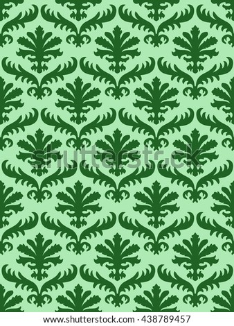 wrapping leaves damask seamless floral pattern background for website, wallpaper, repeating foliage floral western damask flower organic, green drapery luxury tiled decor old revival venetian  - stock photo