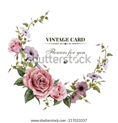 Wreath of convolvulus and roses , watercolor, can be used as greeting card, invitation card for wedding, birthday and other holiday and  summer background - stock photo