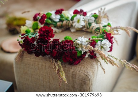wreath of flowers for the bride. - stock photo