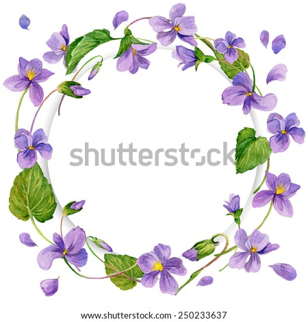 wreath of forest violet and young green grass. Spring flowers background. watercolor art - stock photo
