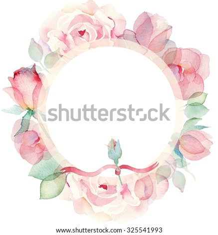 Wreath of roses, watercolor, can be used as greeting card, invitation card for wedding, birthday and other holiday and summer background. - stock photo