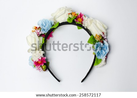 wreath with blue and white roses on a white background - stock photo