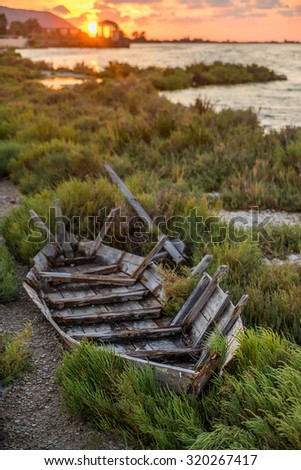 wreck of a fishing boat in Lefkada GReece Shallow DOF - stock photo