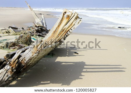 Wreck of the South West Sea. Skeleton Coast Park . Namibia - stock photo