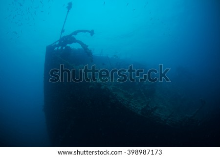 Wreck of Umbria, stubbled during the Second World War, Red Sea, Sudan. - stock photo