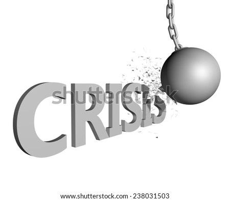 wrecking ball ending Crisis issue - stock photo
