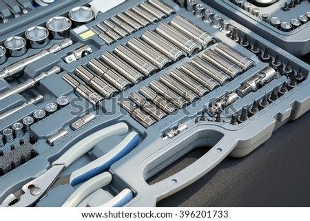 Wrench Box and Tools for repairs. - stock photo