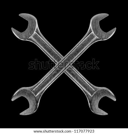 wrench on a black background - stock photo