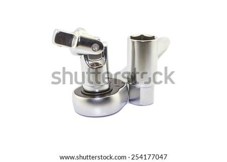 Wrench ratchet and socket isolated on white background. - stock photo