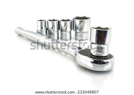 Wrench ratchet and socket number 22mm on a white background. - stock photo