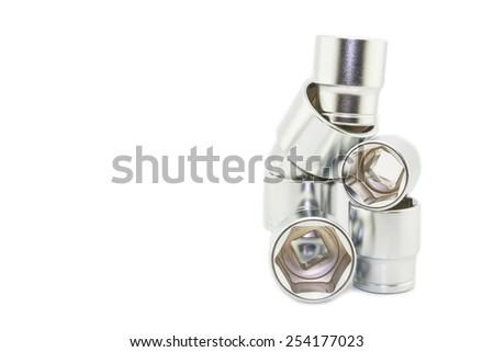 Wrench ratchet socket isolated on white background. - stock photo
