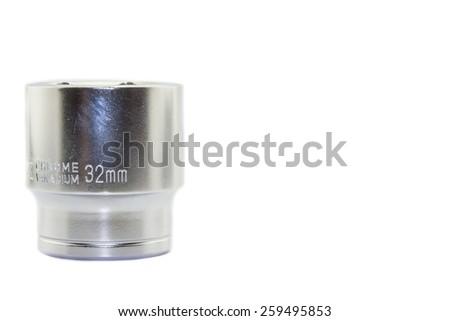 Wrench ratchet socket size 32mm isolated on white background. - stock photo