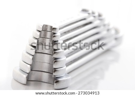 Wrenches on white background - close-up - stock photo
