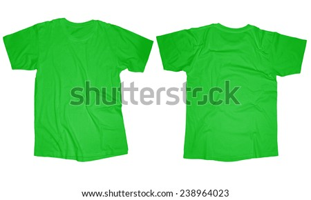 Wrinkled blank light green t-shirt template, front and back design isolated on white - stock photo