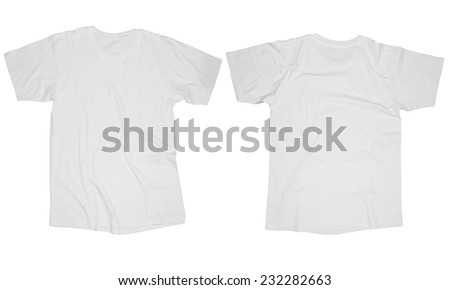 Wrinkled blank white t-shirt template, front and back design isolated on white - stock photo