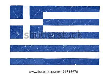 wrinkled Greece flag isolated on white background - stock photo