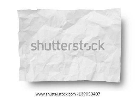 Wrinkled paper -Clipping path included - stock photo