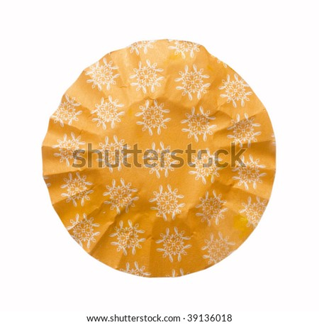 wrinkled paper in the shape of circle - stock photo
