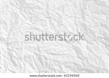 wrinkled paper white background texture - stock photo