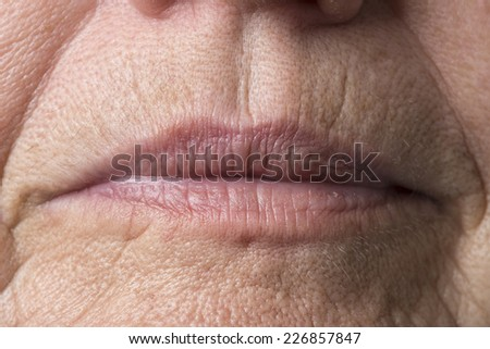 wrinkled woman skin - stock photo