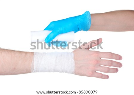 Wrist bandage isolated on white - stock photo