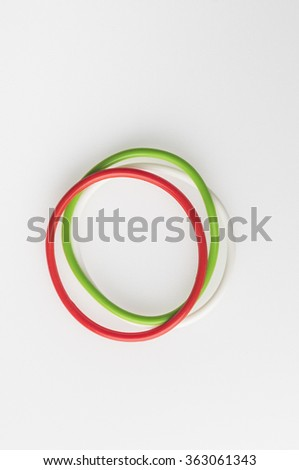 Wrist bands in Indian flag tricolors. Isolated image. Independence day celebration. - stock photo