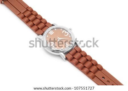 wrist watch closeup on white - stock photo