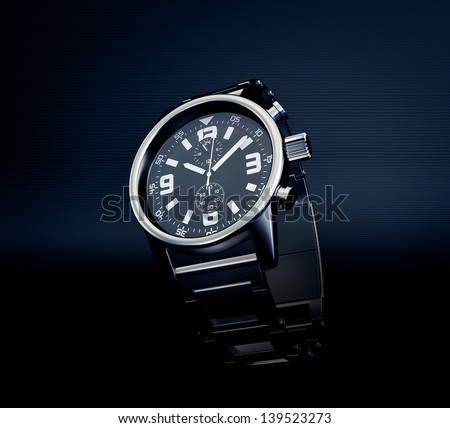 wrist watch isolated on a dark background - stock photo
