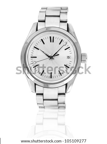 Wrist watch isolated on white background. - stock photo