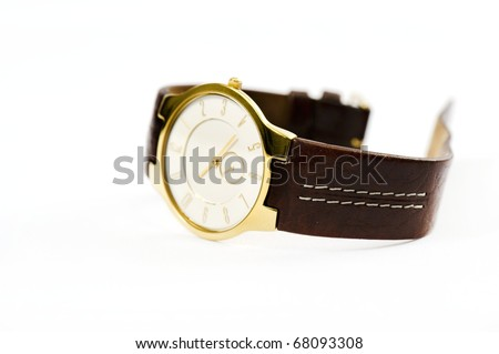 Wrist watch on a white background - stock photo