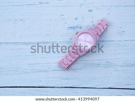 wrist watch pink - stock photo