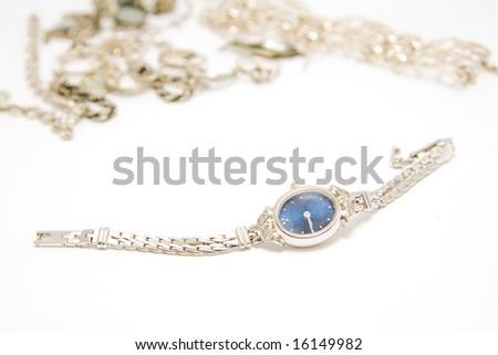 wristwatch and jewelery - stock photo
