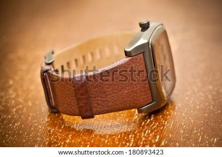 Wristwatch closeup. vintage style. - stock photo