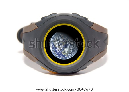 Wristwatch with globe on display. The display image is also customizable - stock photo