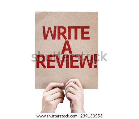 Write a Review card isolated on white background - stock photo