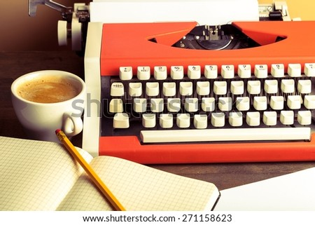 Writer, press, letters. - stock photo