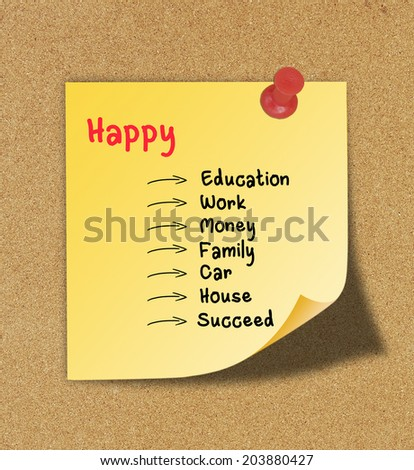 Writing a study to Happy on yellow note pinned on cork board. - stock photo